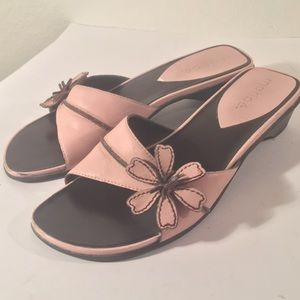 MARIPE Pink flower Leather Slip On Slide wedges